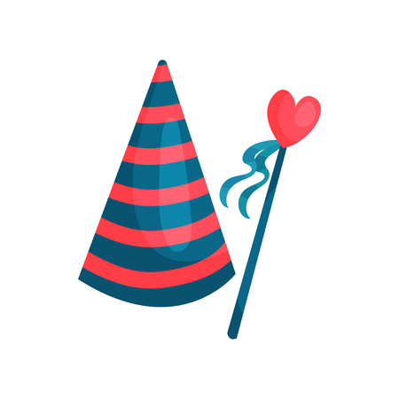 Colorful icon of striped cone hat and heart on stick with ribbons. Accessory for Birthday party. Decorative element for greeting card. Cartoon flat vector design Illustration