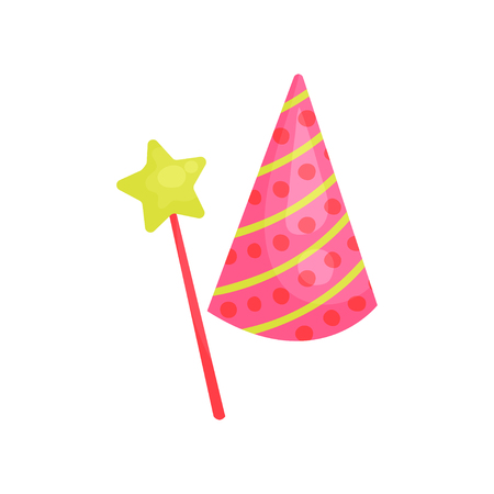 Cartoon icon of pink cone hat with colorful pattern and star on stick. Accessory for Birthday party. Graphic decorative element. Flat vector design