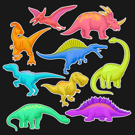 Colorful collection of prehistoric reptiles. Giant animal of Jurassic period. Cartoon dinosaur characters in flat style. Vector design for sticker, book or video game