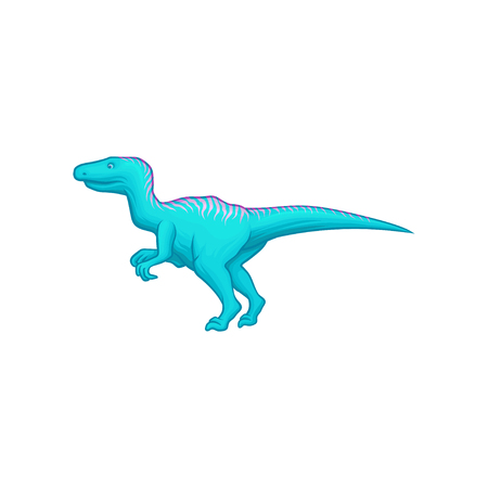 Blue dinosaur with long tail, short fore and long hind limbs. Giant prehistoric reptile. Animal of Jurassic period. Flat vector design for video game or book