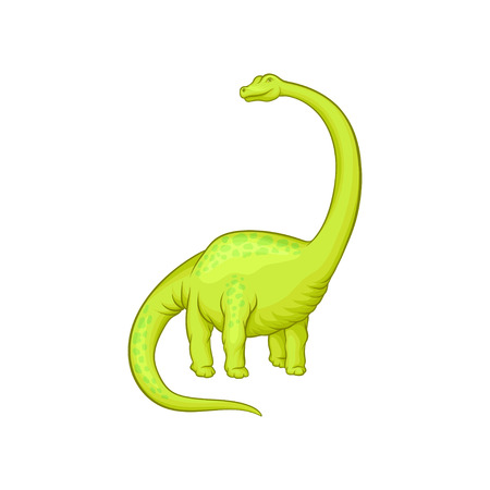 Giant mamenchisaurus with long neck, tail and short paws. Cartoon character of green dinosaur. Prehistoric creature. Flat vector element for video game Illustration