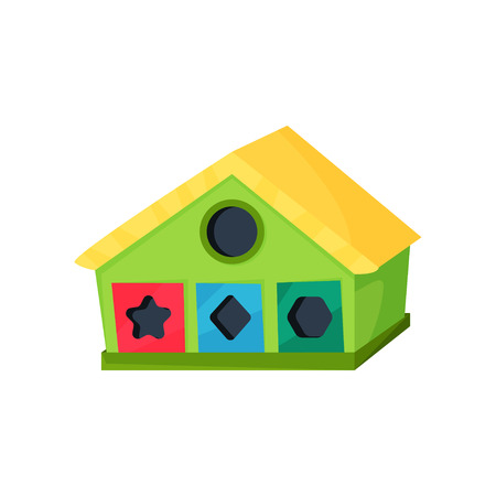 Development toy in shape of house with holes for geometric figures. Game for little children. Learning through play. Great for teaching shapes. Colorful flat vector icon Illustration