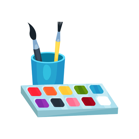 Bright watercolor paints in box and brushes in cup. Tools for drawing. Graphic design element for children s art class. Cartoon flat vector icon