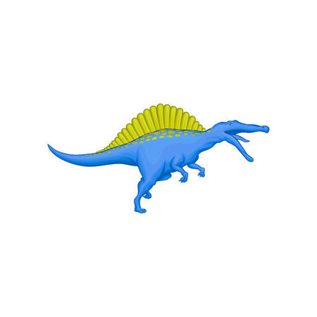 Cartoon character of prehistoric animal - spinosaurus. Giant blue dinosaur with green spines on back. Flat vector element for mobile game or children s encyclopedia