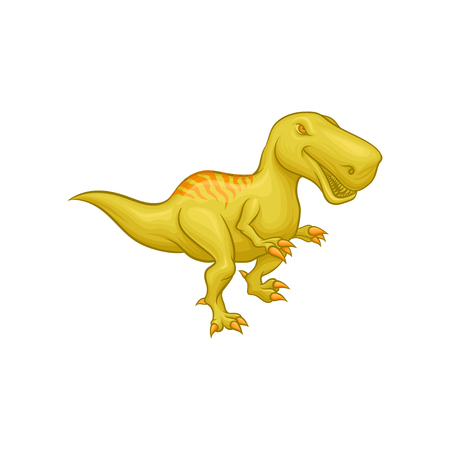 Cartoon Tyrannosaurus Rex. Prehistoric reptile. Large green dinosaur. Colorful flat vector element for mobile game or children s encyclopedia. Stock Illustratie