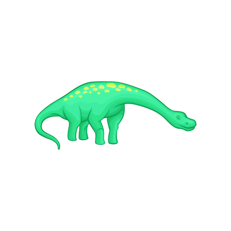 Apatosaurus dinosaur with long neck, tail and yellow spots on back. Illustration