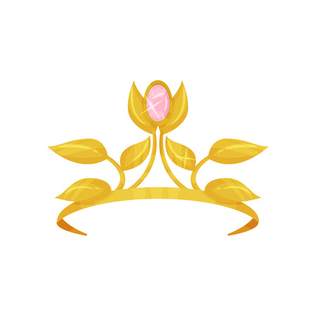 Beautiful royal crown decorated with golden petals and precious pink stone. Shiny princess tiara. Accessory of queen. Expensive jewelry. Colorful flat vector design