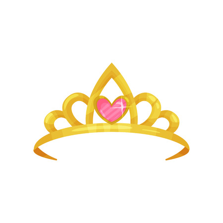 Cartoon icon of shiny princess crown with precious pink stone in shape of heart. Golden ancient queen tiara. Symbol of royal dignity. Colorful flat vector design
