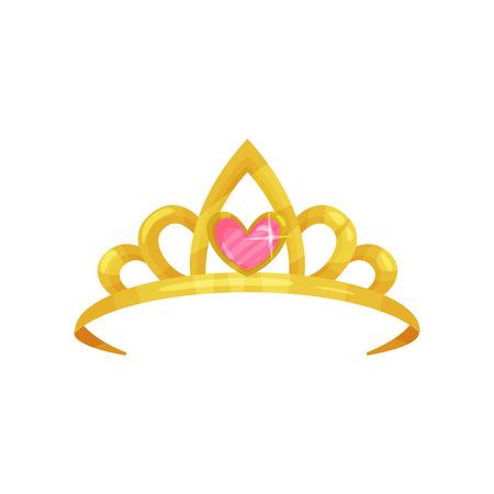 Ikona kreskówka błyszczącej korony księżniczki z cennym różowym kamieniem w kształcie serca. Złota tiara starożytnej królowej. Symbol godności królewskiej. Kolorowy płaski wektor wzór Ilustracje wektorowe