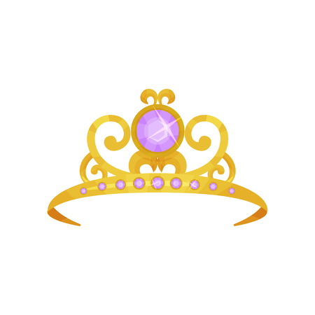 Beautiful princess crown decorated with round purple gemstones. Golden tiara. Precious queen accessory. Symbol of royal power. Colorful flat vector design