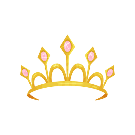 Shiny princess tiara decorated with five precious pink stones. Golden queen crown. Royal attribute. Woman s head accessory. Colorful flat vector icon Vettoriali