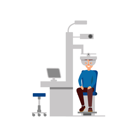 Young patient checking eyesight in clinic. Professional ophthalmologic examination. Concept of modern technologies. Healthcare and treatment. Flat vector design Ilustração