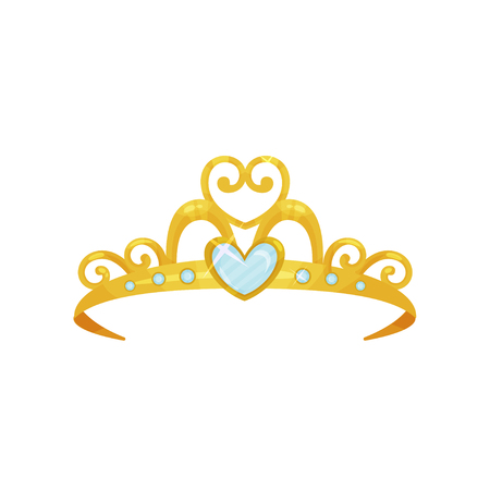 Golden princess tiara. Beautiful queen crown decorated with six blue small gemstones and one big heart-shaped gem. Precious head accessory. Flat vector design