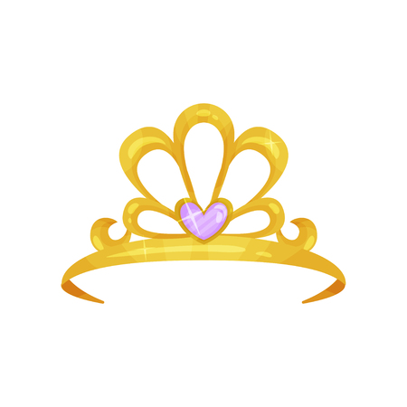 Golden queen crown with precious purple stone in shape of heart. Shiny princess tiara. Expensive jewelry. Woman s head accessory. Colorful flat vector design Reklamní fotografie - 95888787