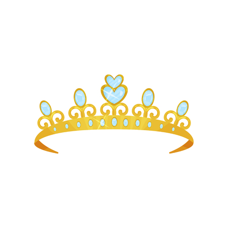 Shiny princess tiara decorated with blue gems. Golden queen crown. Woman s head accessory. Symbol of royal dignity. Expensive jewelry. Colorful flat vector design