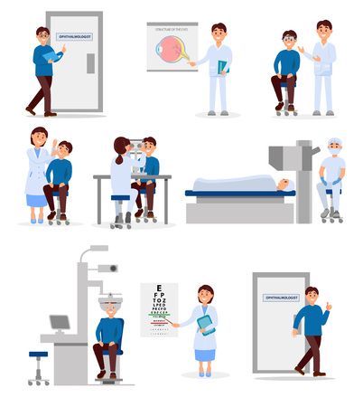 Set with medical workers of ophthalmic hospital and patients in different situations. Professionals at work. Healthcare and treatment concept. Flat vector illustration Illustration