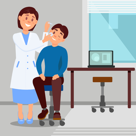 Doctor s office in clinic smiling woman treats eye of young man using eye-drops. Cartoon character of medical worker and patient. Flat vector illustration.