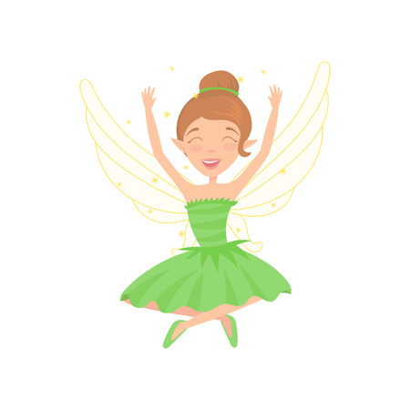 Happy fairy sitting with legs crossed and hands up. Cartoon girl character with brown hair dressed in fancy green dress. Pixie with little wings.