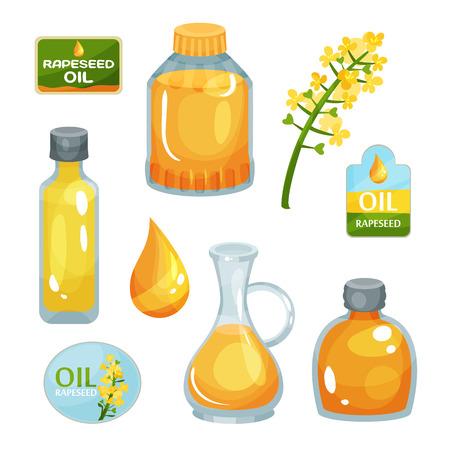 Heldergele koolzaadbloem, plantaardige olie in flessen van verschillende vormen, druppel vloeistof en merklabels. Kleurrijke illustratie geïsoleerd op een witte achtergrond.