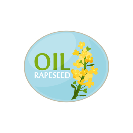 Blauwe ovale sticker met felgele koolzaadbloem en tekst. Gezond product. Ontwerp voor etiket van oliefles of promoposter.