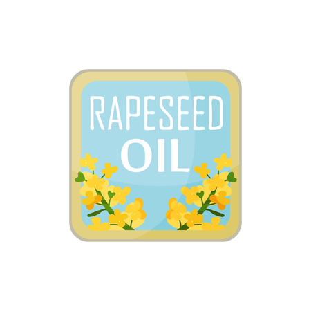 Square label with bright-yellow rapeseed flowers and text. Packaging design for organic and healthy product. Çizim