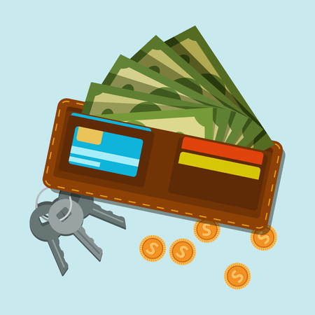 Wallet with green dollars and plastic cards, golden coins and bunch of keys from door or safe. Money icon. American currency. Illustration