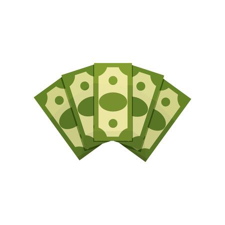 Cartoon illustration of money fan. Five dollar bills. Green banknotes.