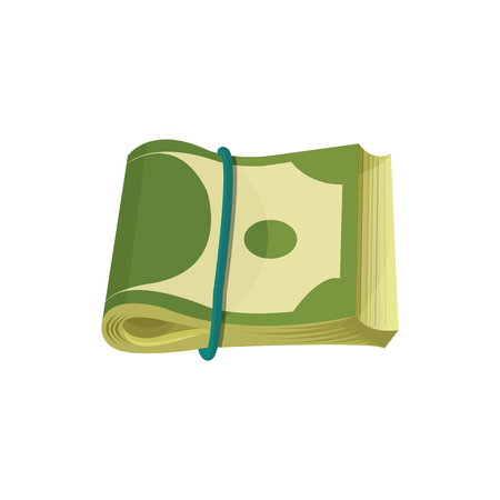 Bundle of American banknotes. Dollar bills folded in two and stretched by blue elastic band. Paper money. Cartoon US currency. Graphic design. Flat vector illustration isolated on white background.