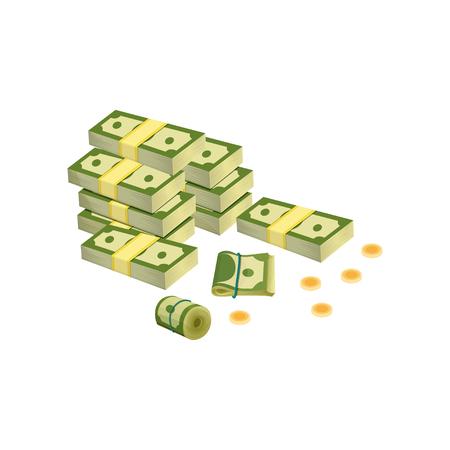 Heap of dollar bills. Green banknotes packed in bundles. Golden coins.