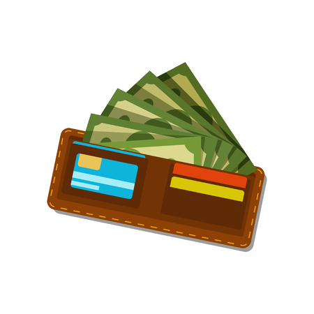 Brown wallet with green dollars and plastic credit cards. Paper money.