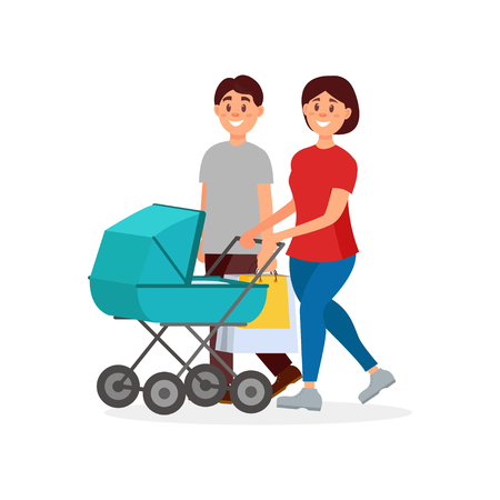 Young family walking after shopping. Mother pushing carriage with baby, father carrying packages. Happy parents. Cartoon people characters. Colorful flat vector design isolated on white background.