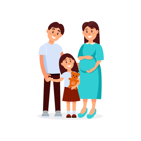 Portrait of young happy family father, mother and daughter. Pregnant woman. Illustration