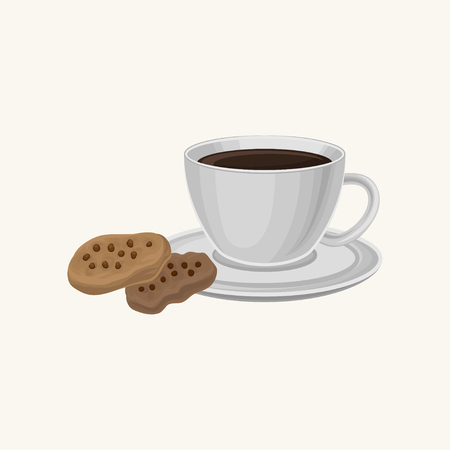 Cup of fresh coffee and two delicious cookies with chocolate chips. Sweet food and drink, traditional breakfast. Good morning concept cartoon flat vector design.