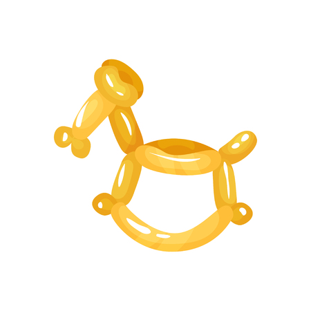 Horse animal figurine twisting of glossy yellow balloons. Funny inflatable toy illustration