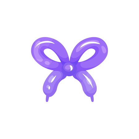 Purple glossy balloon in shape of bow. Cartoon style design. Decoration for children party, birthday postcard or poster. Colored flat vector illustration 免版税图像 - 97111708