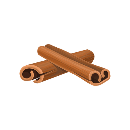 Icon of two rolled cinnamon sticks. Cooking ingredient. Aromatic condiment for dishes.