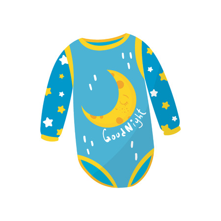 18dbe2675 Cartoon Icon Of Blue Baby Bodysuit With Long Sleeves And Crescent ...