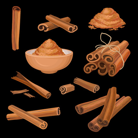 Vector set of cinnamon sticks and powder. Aromatic condiment. Spicy seasoning for dishes, sweets and drinks. Culinary theme. Cooking and aromatherapy ingredient Stock Photo