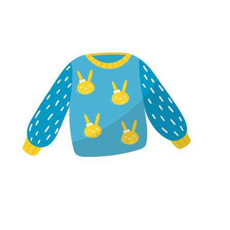 Blue little sweater with bunnies print. Apparel for toddler girl. Baby fashion. Kids clothing. Item for children care concept. Colorful flat vector design