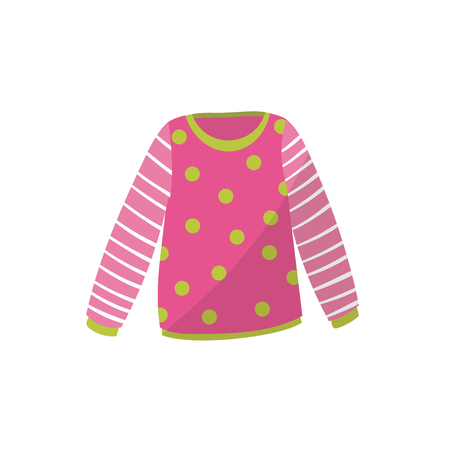 Pink baby sweater in green polka-dot. Cute warm pullover with striped sleeves. Children s apparel. Clothing for toddler girl. Kids outfit. Cartoon flat design