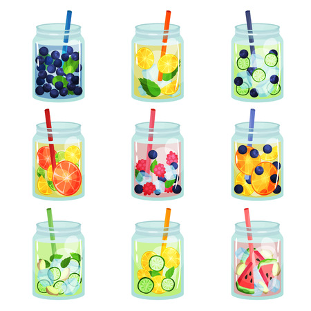 Collection of delicious detox drinks with various ingredients. Refreshing fruit water. Natural and healthy beverages. Organic cocktails in glass jars with drinking straws. Flat vector design for menu.