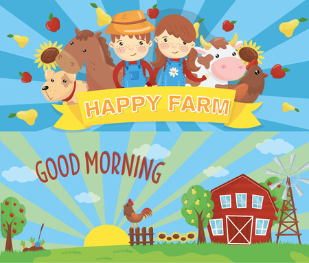 Cartoon farm banners. Rural landscape with wooden barn, green grass, wind pump, rooster on fence and rising sun. Little kids and domestic animals livestock. Flat vector