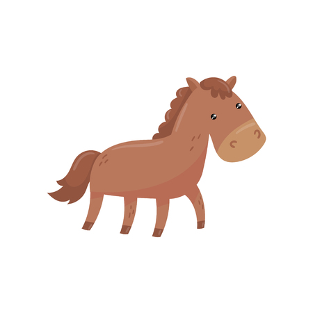 Funny horse with short-haired brown coat, mane and long tail. Farm animal. Large hoofed livestock used for riding, pulling or carrying loads. Flat vector illustration isolated on white background.