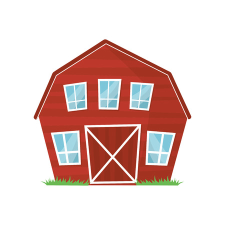 Red wooden farm barn with big windows for keeping animals or agricultural equipment. Cartoon rural building. Countryside architecture. Colorful flat vector design Illustration