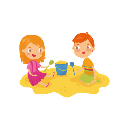 Two little kids, boy and girl playing in sandbox. Children s daily activity. Cartoon characters of brother and sister. Outdoor game in kindergarten. Colorful flat vector illustration isolated on white
