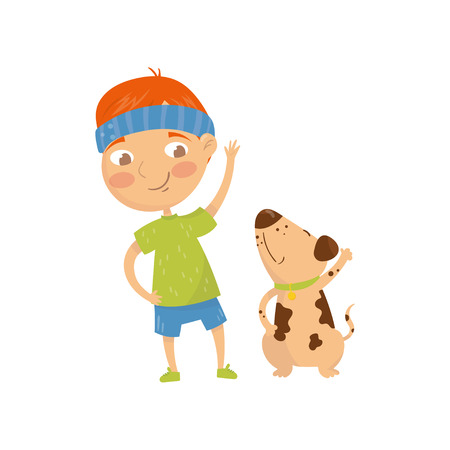 Funny red-haired kid doing sports exercises with his dog. Morning daily activity. Little boy and his pet. Cartoon child character in sportswear. Colorful flat vector illustration isolated on white.