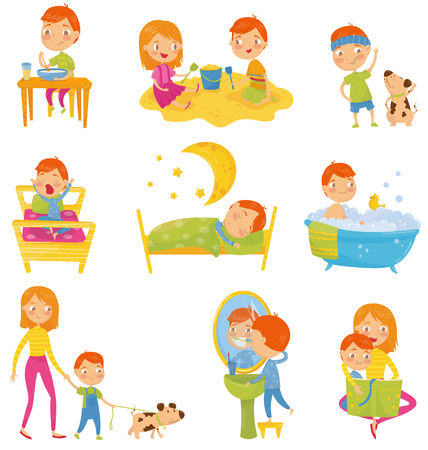 Daily routine of little boy. Kid eating breakfast, playing, doing physical exercises, waking up, sleeping, taking bath, walking outdoors, brushing teeth, reading book. Day time. Flat vector design