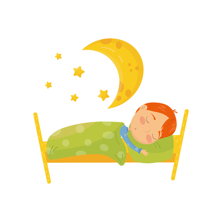 Cartoon character of red-haired boy sleeping in bed under warm blanket. Big yellow moon and little stars. Bedtime concept. Daily routine. Colorful flat vector illustration isolated on white background
