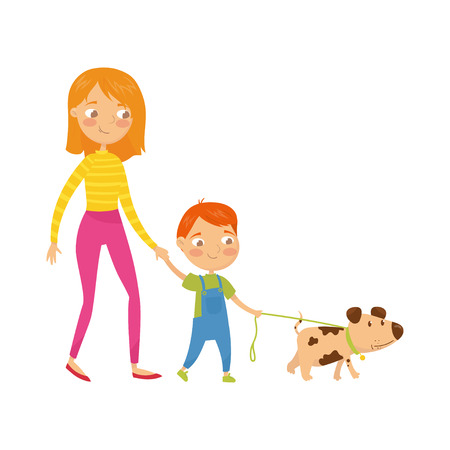 Young mother walking with her cute son and little puppy. Cartoon character of woman, boy and dog. Daily routine. Family time. Happy childhood. Flat vector illustration isolated on white background.