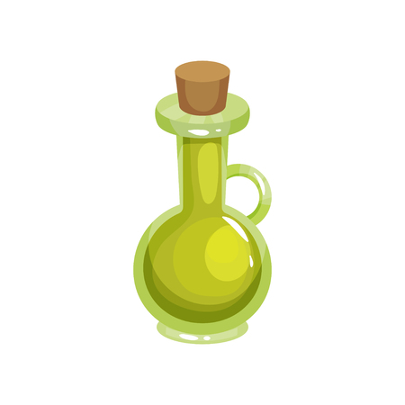 Transparent glass jug with tapered bung filled with olive oil. Ingredient for cooking and skin care. Organic and healthy product. Cartoon flat vector illustration isolated on white background.